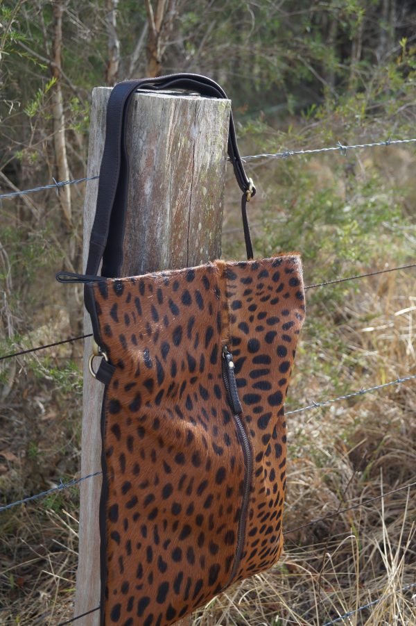 Womens Brown Spotted Leather Bag